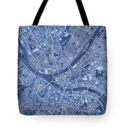 Pittsburgh Map Blue Tote Bag