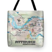 Pittsburgh Pennsylvania Fine Art Print Retro Vintage Map With Touristic Highlights Tote Bag