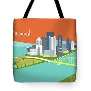 Pittsburgh Pennsylvania Horizontal Skyline - Orange Tote Bag