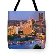 Pittsburgh Pennsylvania Skyline At Dusk Sunset Panorama Tote Bag