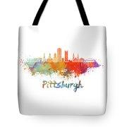 Pittsburgh V2 Skyline In Watercolor Tote Bag