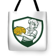 Pizza Chef Holding Pizza Shield Retro Tote Bag