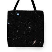 Planetary Nebula Messier 97 Owl Nebula And Galaxy Messier 108 In Constellation Ursa Major Tote Bag