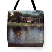 Plastic Buoy In Front Of A Lake Tote Bag