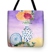 Plate And Flowers Tote Bag