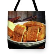 Plate With Sliced Bread And Knives Tote Bag