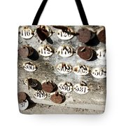 Plates With Numbers Tote Bag by Carlos Caetano
