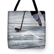 Player And Puck Tote Bag