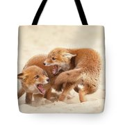 Playfighting Red Fox Kits Tote Bag
