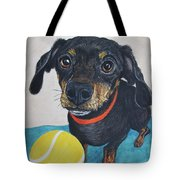 Playful Dachshund Tote Bag by Megan Cohen