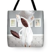 Playful Young Woman Jumping On The Bed , A Pillow Fight Tote Bag