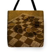 Playing Checkers On A Rug Tote Bag