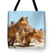 Playing Fox Kits Tote Bag