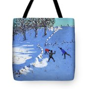Playing In The Snow Youlgrave, Derbyshire Tote Bag