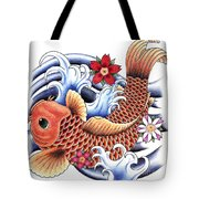 Playing Koi Tote Bag by Maria Arango