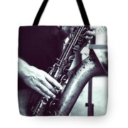 Playing The Saxophone Tote Bag
