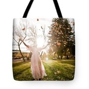 Playing With Leaves Tote Bag