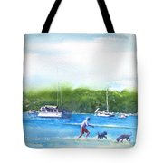 Playing With The Dogs At Rose Bay Tote Bag