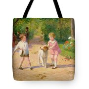Playing With The Hoop Tote Bag by Victor Gabriel Gilbert