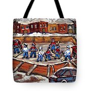 Playoff Time At The Local Hockey Rink Montreal Winter Scenes Paintings Best Canadian Art C Spandau Tote Bag