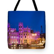 Plaza De Cibeles In Madrid Tote Bag