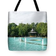 Plovdiv Singing Fountains - Bright Aquamarine Water Dancing Jets And Music Tote Bag