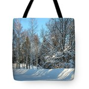 Plowed Winter Street In Sunlight Tote Bag