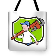 Plumber Holding Monkey Wrench Crest Cartoon Tote Bag