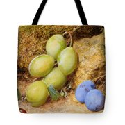 Plums And A Rose Hip On A Mossy Bank Tote Bag