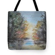 Pm River Sunset Tote Bag