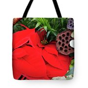 Poinsettia Basket For Christmas Tote Bag