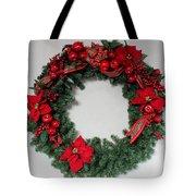 Poinsettia Wreath Tote Bag