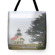 Point Cabrillo Light Station Ca - Lighthouse In Damp Costal Fog Tote Bag by Christine Till