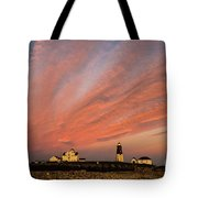 Point Judith Lighthouse Sunset Tote Bag