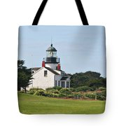 Point Pinos Light - Lighthouse On The Golf Course - Pacific Grove Monterey Central Ca Tote Bag by Christine Till
