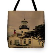 Point Pinos Lighthouse Antiqued Tote Bag