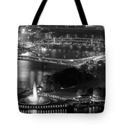 Point State Park In Black And White Tote Bag