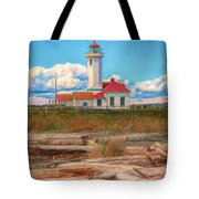 Point Wilson Lighthouse And Driftwood Tote Bag