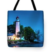 Pointe Aux Barques Lighthouse At Dawn Tote Bag