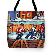 Outdoor Hockey Rink Painting  Devils Vs Rangers Sticks And Jerseys Row House In Winter C Spandau Tote Bag