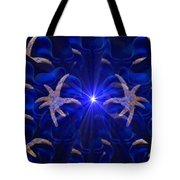 Pointelist Abstract In Blue Catus 1 No. 1 H B Tote Bag