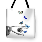 Pointing Finger With Blue Butterflies Tote Bag