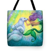Polar Bear Kiss Tote Bag