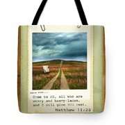 Polaroid On Weathered Wood With Bible Verse Tote Bag