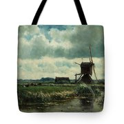 Polder Landscape With Windmill Near Aboude Tote Bag