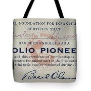 Polio Certificate, 1954 Tote Bag