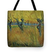 Pollarded Willows And Setting Sun Tote Bag