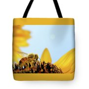 Pollen-coated Honey Bee On A Sunflower Tote Bag