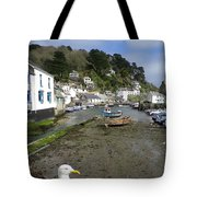 Polperro Harbour Cornwall And Seagull Tote Bag