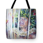 Polynesian Maori Warrior With Spears Tote Bag